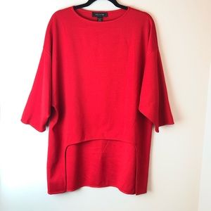 St. John | Red Oversized High Low Pullover P